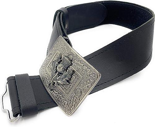 TARTAN TWEEDS Scottish Plain Leather Kilt Belt and Thistle Buckle S - XL