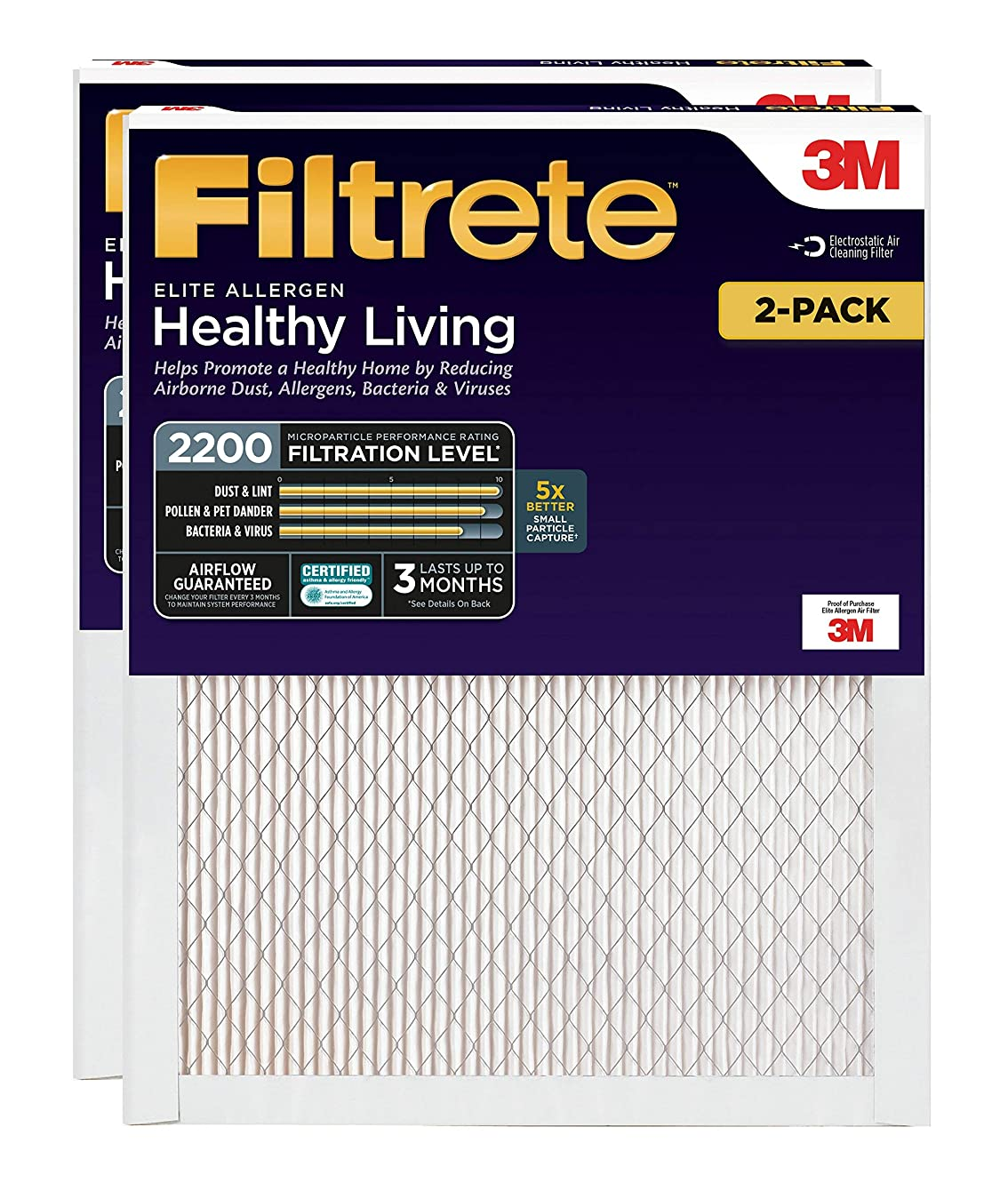 Filtrete 14x24x1, AC Furnace Air Filter, MPR 2200, Healthy Living Elite Allergen, 2-Pack (Renewed)