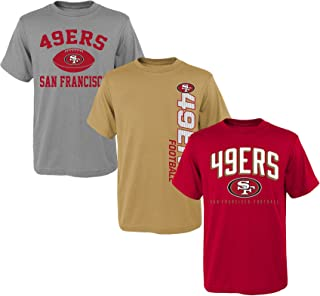 NFL San Francisco 49ers Boys Outerstuff 3 Piece Short Sleeve Tee Set, Assorted Colors, Youth Large (12-14)