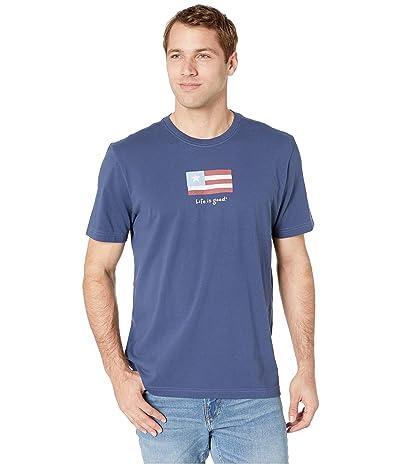 Life is Good Three Stripe Flag Vintage Crushertm Tee (Darkest Blue) Men