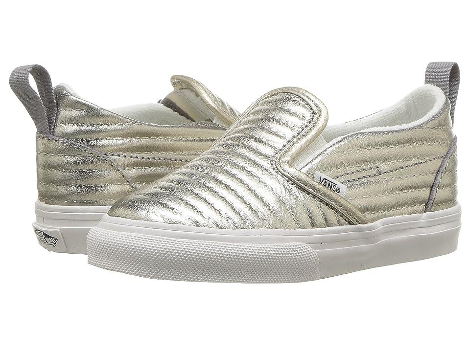 Vans Kids Slip-On V (Infant/Toddler) ((Moto Leather) Metallic Silver) Girls Shoes