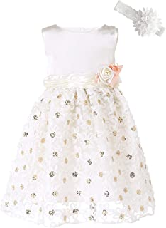 Baby Girls Embroideries Lace Flower Tutu Tulle Formal Birthday Wedding Party Gown Princess Dresses with Headwear