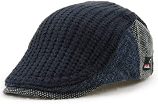 d7bab3da192 YCHY Men s Knitted Wool Duckbill Hat Warm Newsboy Flat Scally Cap