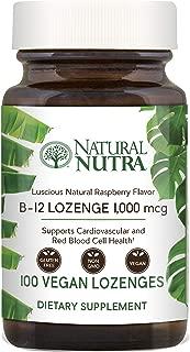 Natural Nutra Vitamin B12 Cyanocobalamin Supplement, 1000 mcg, Non-GMO, Vegan and Vegetarian, Premium Glass Bottle, Raspberry Flavor, 100 Lozenges