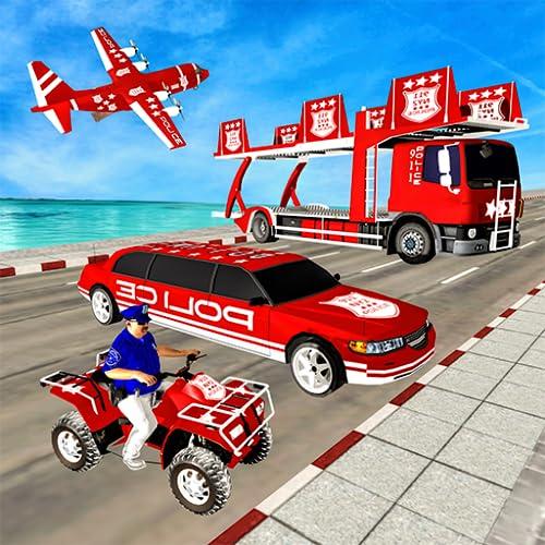 US Police Quad Bike limousine Car Transporter Game
