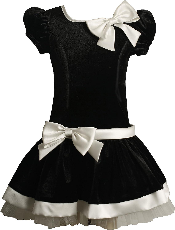 Bonnie Jean Little Girls' Short Sleeve Panne Dress With Satin Bows