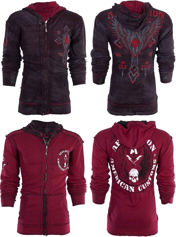 AFFLICTION Mens Long Sleeve LIVE FAST PRIME Reversible Hoodie Sweatshirt Jacket