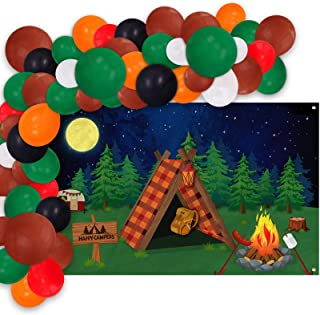 4.7x3.3ft Camping Backdrop Banner And Balloons Garland Set, Indoor Camp Out Decoration Kit, Forest Night Campfire Tent Sce...