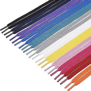Lvcky, Lacci piatti per scarpe sportive, 12 paia di lacci colorati da 0,8 cm di larghezza e 100 cm di lunghezza, per scarp...