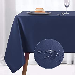 NLMUVW Rectangle Table Cloth, Waterproof Oblong Tablecloth, Microfiber Fabric Table Cover for Party Picnic Outdoor and Indoor Use (60 x 84 Inch, Navy)