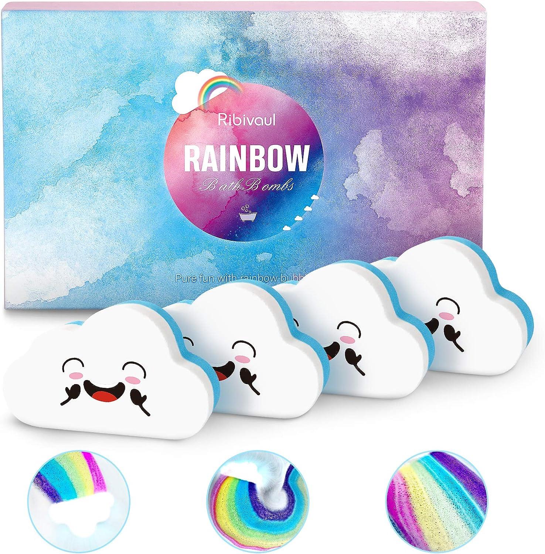 Rainbow Bath Bombs Gift Set, Ribivaul Handmade Bath Bombs with Natural Ingredients and Dreamy Rainbow,Bath Bomb with Rich Bubble, Great Gift for Birthday, Halloween, Christmas