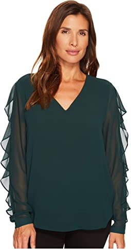 Calvin Klein - Long Sleeve Blouse with Ruffle Sleeve