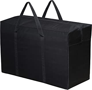 Storite Multi-Purpose Heavy Duty 166 Liter Super Extra Jumbo Large Toys Storage Bag/Stationery Paper/Blankets/Clothes Storage Bag Moisture Proof with Zip and Handle (Black,89x34x55 cm,XXXL)