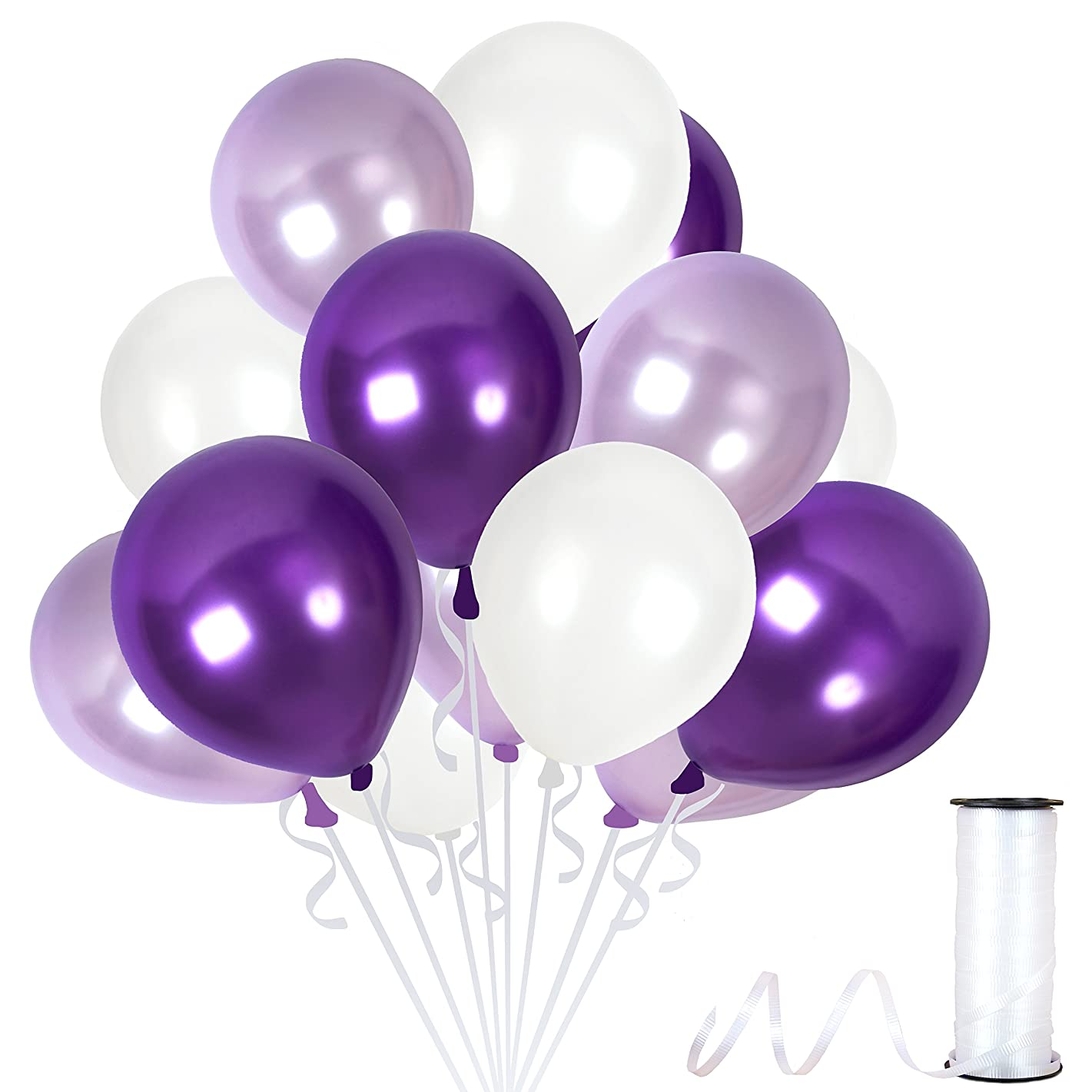 Assorted Metallic Pearl White Purple Balloons 12 Inch Lilac Lavender Violet Thick Latex Balloon Bulk Pack of 100 and Ribbons Party Supplies for Wedding Bridal Baby Shower Birthday Decorations