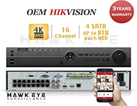 4K 16CH IP Network Video Recorder - 16 Built in PoE Port Up to 12MP Resolution Recording Compatible as DS-7716NI-SP/16 NVR 3 Year Warranty