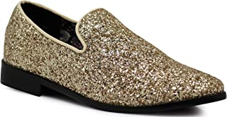 SPK04 Men's Vintage Glitter Dress Loafers Slip On Shoes Classic Tuxedo Dress Shoes