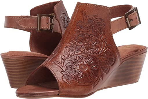 Burnished Tan Hand Tooled Leather