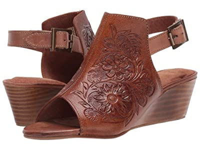 Roper Rowan (Burnished Tan Hand Tooled Leather) Women