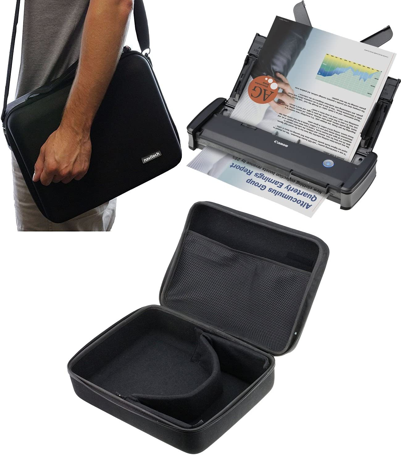 Navitech Black Hard A4 Portable/Mobile Scanner Carry Case Compatible with The FLAGPOWER 900DPI Solutions Magic