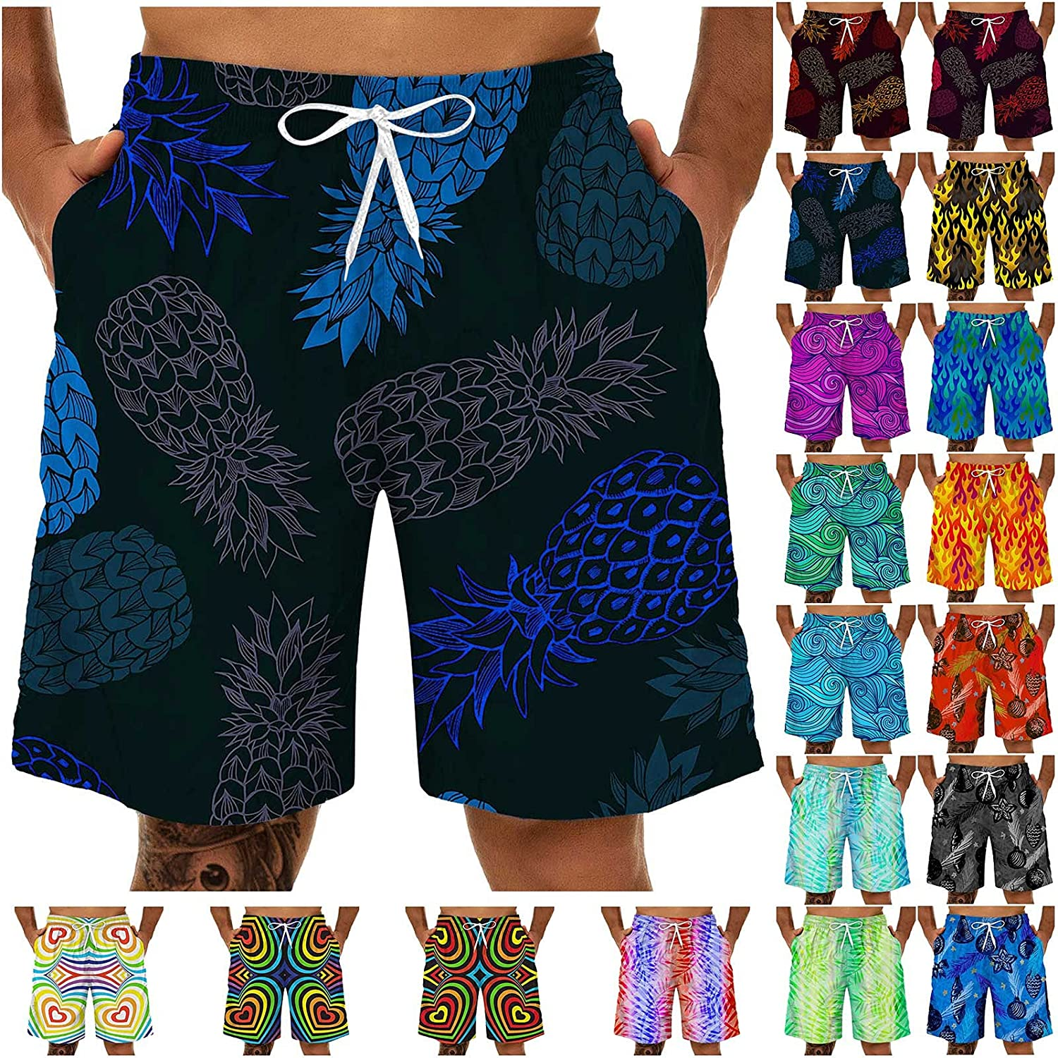Mens Swim Trunks Quick Dry Board Shorts Fashion 3D Printed Funny Beach Shorts Bathing Suits with Pockets
