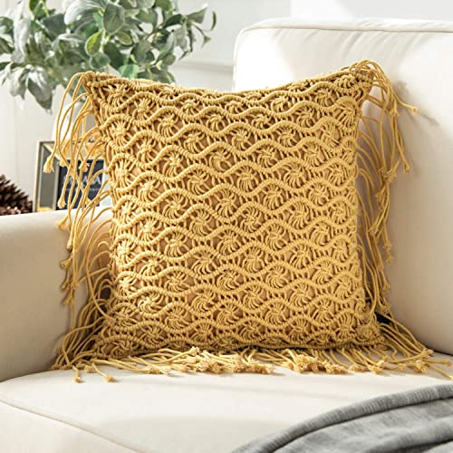 new arrival Phantoscope outlet sale 100% Cotton Handmade Crochet Woven Boho Throw Pillow with Tassels Cute high quality Farmhouse Pillow Insert Included Lumbar Small Decorative Cushion for Couch Sofa, Ginger,18 x 18 inches 45 x 45 cm online