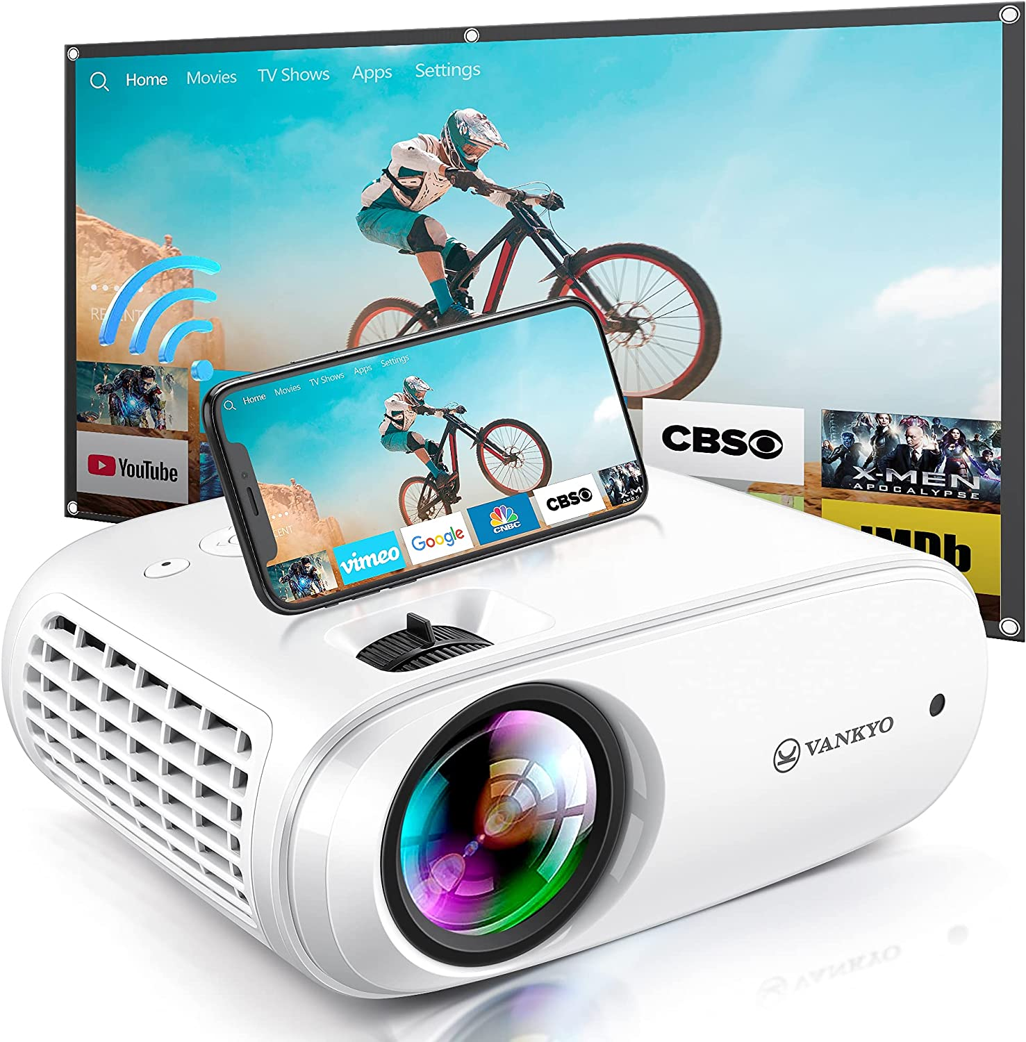 Mini Projector, VankyoProjector Supports Full HD 1080P & 220'' Display, Wi-Fi Portable Video Projector w/ 55000 Hrs Lamp Life & 100'' Screen for Home & Outdoors, Compatible with TV Stick, PS4, HDMI