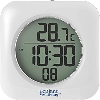 LeBlanc WellBeing Waterproof Bathroom Shower Clock Mounts with 4 Suction Cups, Hanging Hole, or Shelf Bracket. Time 12/24 Hr and Indoor Temp. Great for RV, Camper, Boat, Gym, Hot Tub, Country Club