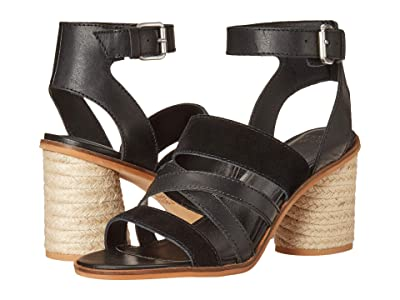 FRYE AND CO. Leiah Mixed Strap Sandal (Black Suede/Waxed Leather) Women