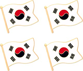 South Korea Korean Flag Lapel Pin Decorations (4 Pack)