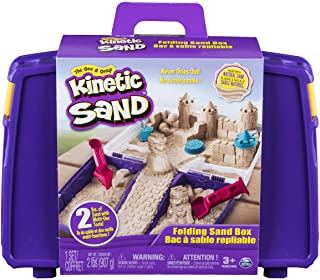 Kinetic Sand, Folding Sand Box with 2lbs of All-Natural Kinetic Sand, 7 Molds and Tools, Play Sand Sensory Toys for Kids A...