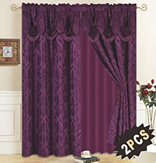 All American Collection New 4 Piece Drape Set with Attached Valance and Sheer with 2 Tie Backs Included (Purple)