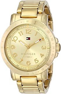 ساعة يد للنساء بمينا لون ذهبي وسوار من الستانلس ستيل من تومي هيلفيجر، موديل 1781395