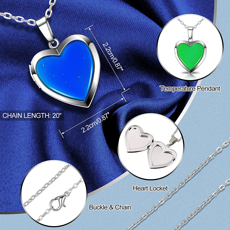 2 Pieces Mood Necklaces Color Changing Necklace Heart Mood Pendant Chain Necklaces Temperature Sensing Color Changing Pendant Necklaces for Girls Women