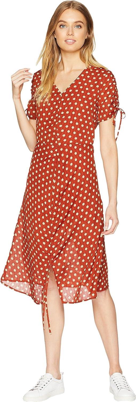 J.O.A. Women's Polka Dot Short Sleeve V Neck Ruched Midi Dress