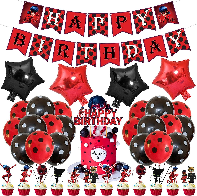 Decoración para fiesta de cumpleaños de Ladybug, banderines de Ladybug, decoración para tartas de Ladybug, globos de látex negro y rojo, globos de aluminio para mariquitas Themed