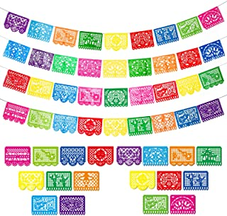 4 Packs Mexican Party Banners Large Plastic Papel Picado Banner Fiesta Plastic Banners, 4 Different Designs, 60 Feet Long ...