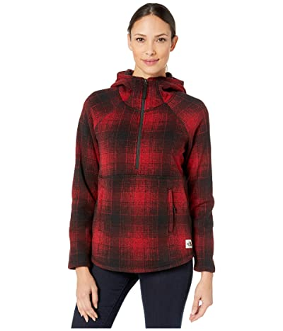 The North Face Printed Crescent Hooded Pullover (TNF Red Ombre Plaid Small Print) Women