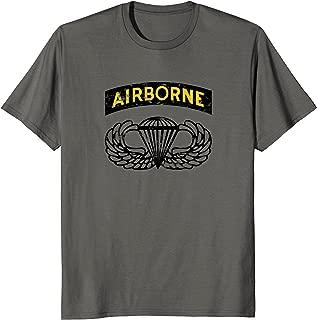 Airborne Paratrooper T-shirt Black Jump Wings Airborne Tab