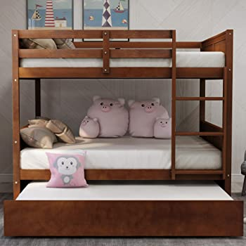 Bunk Beds Full Over Full with Trundle,JULYFOX 725lb Heavy Duty Full Size Platform Bed Pine Wood with Headboard Foot Board No Box Spring Need Bunk Beds with Ladders Guard Rails Space Saving-Walnut