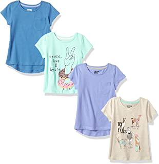 Spotted Zebra Girls' Toddler & Kids 4-Pack Short-Sleeve...