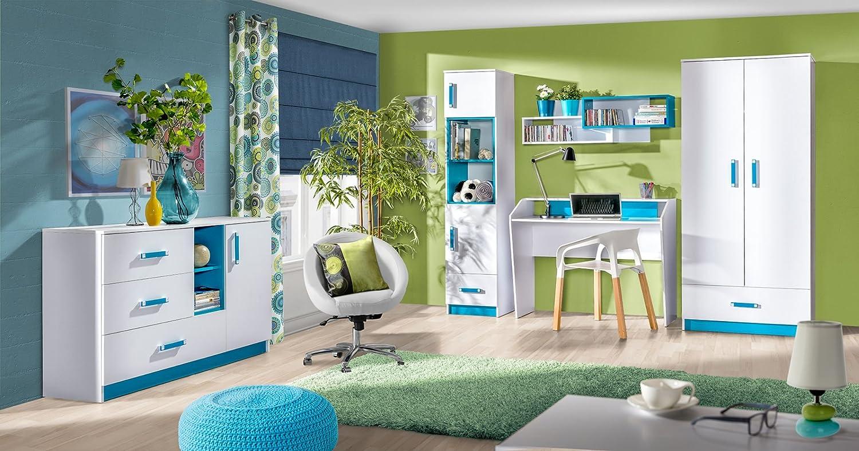 Kinderzimmer Set D Frank, 5-teilig, Farbe  Wei Blau