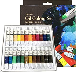 PHOENIX Oil Color Paint Set of 24 Tubes x 12 ml - Non-Toxic Paints for Kids, Students, Beginners & Artists