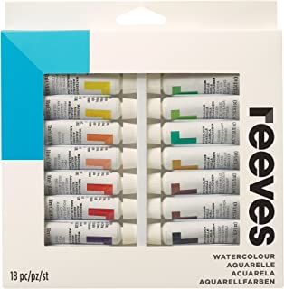 Reeves Watercolor Paint 10ml Tubes, Set of 18, Water Colour