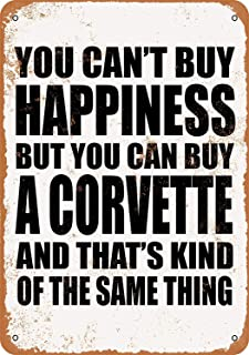Treasun 12 x 16 Inches Metal Sign - You Can't Buy Happiness But You Can Buy a Corvette - Vintage Look Sign, bar, Cafe,Home Wall Decoration