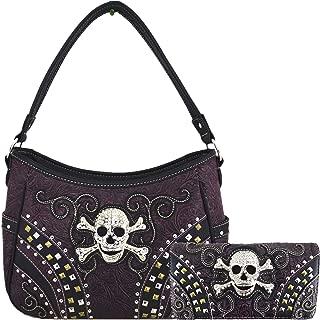 Punk Art Cross Skull Rivet Studs Concealed Carry Purses Country Western Handbags Shoulder Bags Wallet Set