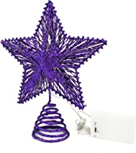 CVHOMEDECO. Purple Glittered 3D Tree Top Star with Warm White LED Lights and Timer for Christmas Tree Decoration and Holid...
