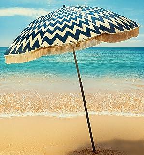 Beach Umbrella For Sand - Best Beach Umbrella Windproof & Portable Sport Umbrella With Fringe, Comes With Denim Beach Umbr...