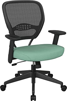 SPACE Seating 55 Series Professional Dark Air Grid Back Adjustable Manager's Chair with Lumbar Support and Padded Fun Colors Jade Fabric Seat