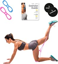 Booty Band Workout Resistance Band Program by Core Fitness USA. Perfect to Lift, Sculpt & Tone Your Butt. Includes 2 Bands and 1 Pair of Core Sliders for Abs Workout. Exercise Guide Included.