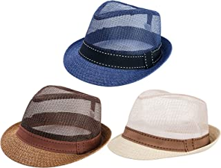 3 Packs Breathable Mesh Top Sun Hat- Unisex Ventilated Mesh Sun Protection Hat Crushable Twill-and-Mesh Summer Top Hat with Wide Brim in 3 Colors for Traveling Fishing Hiking